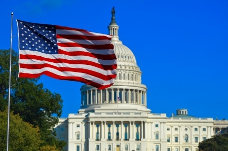 22919685 - washington dc, usa flag and capitol building